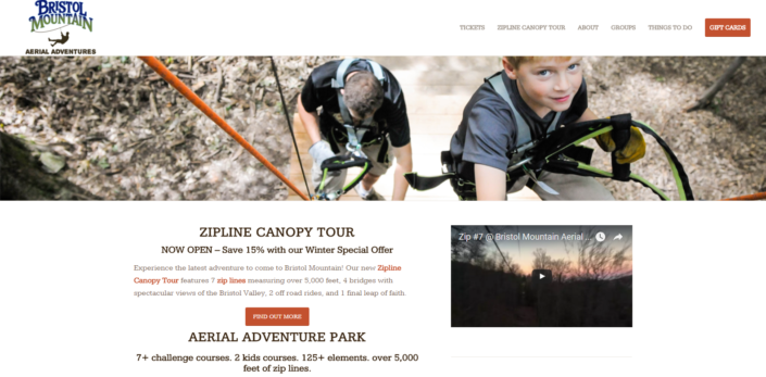 Bristol Mountain Aerial Adventures Website