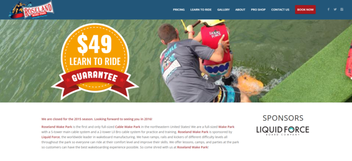 Roseland Wake Park Website